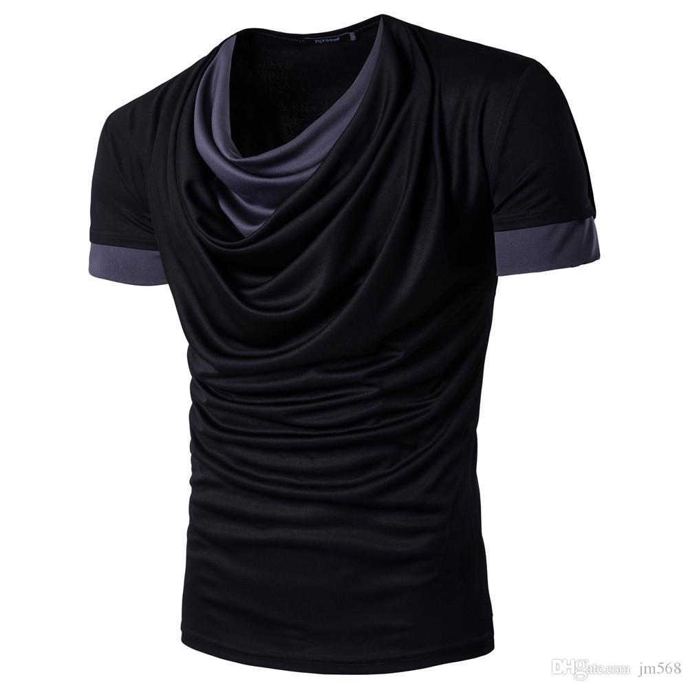 0477f6a700c8 Summer Men S Cotton Casual Short Sleeve Solid Color Matching Pile Collar T  Shirt Street Clothing Sports Half Sleeve Jacket Shop T Shirts Online T  Shirt ...