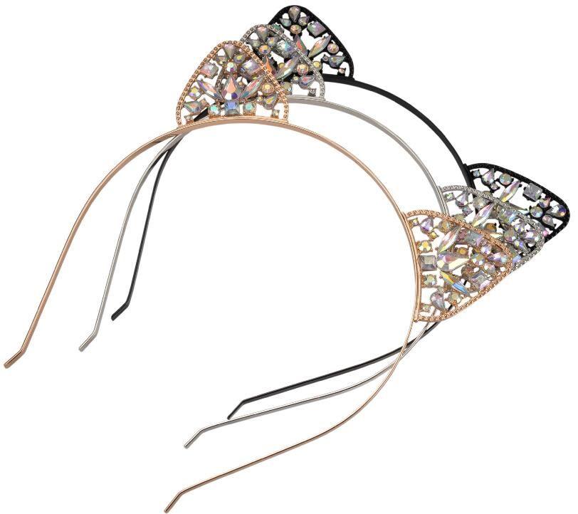 ec451dbabda Novelty Kids Cat Ears Headband Crystal Hairband Festival Hair Bezel Girls  Crown Tiara Rhinestone Headdress GA New Cat Ear Hair Band Alloy AB Color  Drill ...