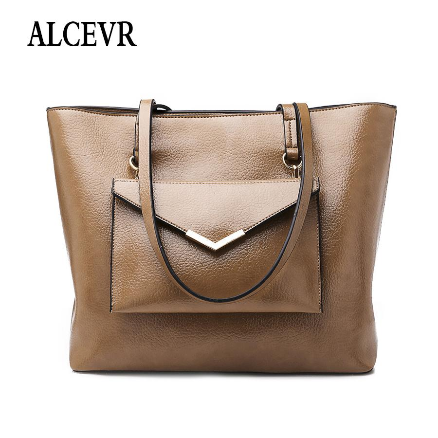 d4ea69bcc19b ALCEVR Simple Style Big Casual Tote + Purse Solid Color Pu Leather Shoulder  Bags For Women All Match Business Bag Female Handbag Handbags Purses From  ...