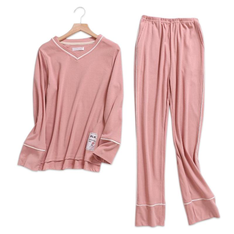 Pure Color Pink Female Pajamas Sets Women 100% Knit Cotton Long Sleeve  Korea Pijamas Sleepwear Pyjamas Feminino Indoor Wear D18110502 UK 2019 From  Shen8403 b982f5ded