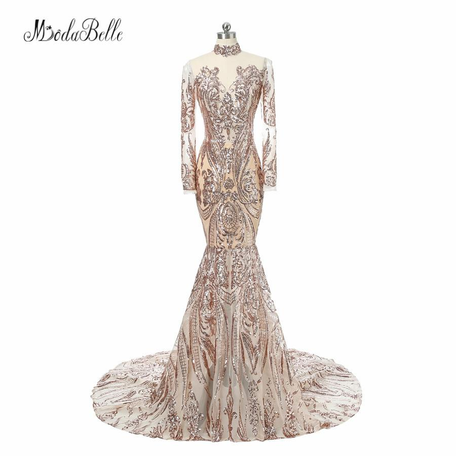 43d8a50ac94 Wholesale Fashion Bling Gold Sequins Long Sleeve Evening Dresses Mermaid  High Neck Luxury Arabic Evening Gowns Dresses Formal Online with  485.15  Piece on ...
