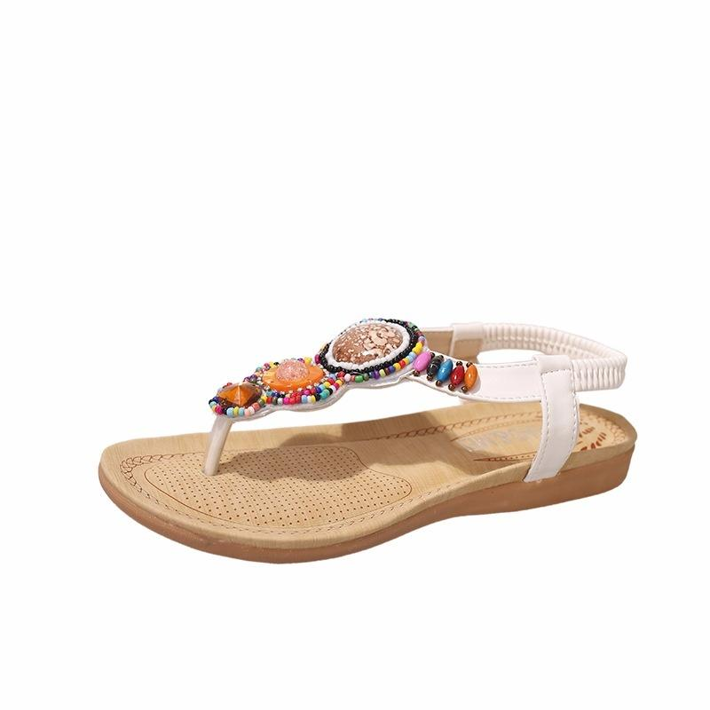 8e40496de9a4 Summer Holiday Beach Shoes Clip Foot Rhinestone Beaded Retro Flat Female  Sandals Slippers Flat Shoes Wedge Shoes From Xiuyi03