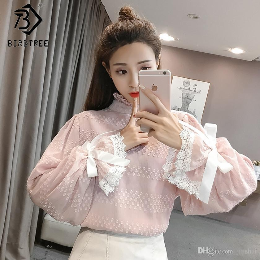 c1a064e741a61 OL Style Bow Spring Office Lady Women Chiffon Blouses Elegance Lace ...