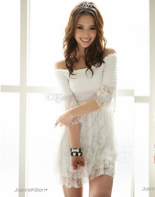 Fashion One word neck horn sleeve dresses Pretty Girl off-the-shoulder evening dresses Whitle Hollow-out pure color of bud silk lace dress