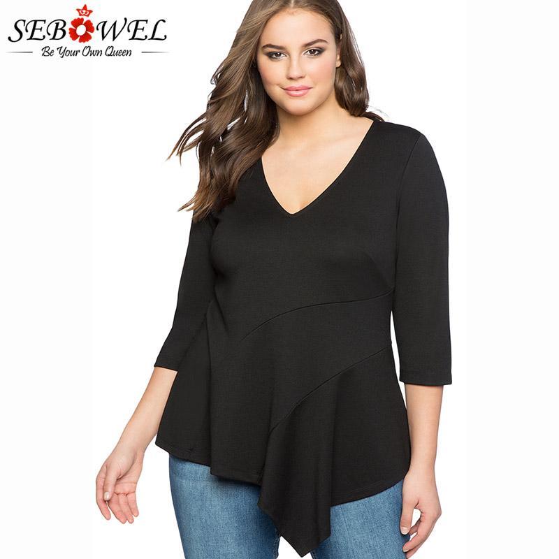 517f732f209df 2019 SEBOWEL Black White Purpel Plus Size Blouses Women 2018 Sexy V Neck  Asymmetric Flounce Peplum Shirt Tops Femininas Blusas XL 4XL From  Elizabethy
