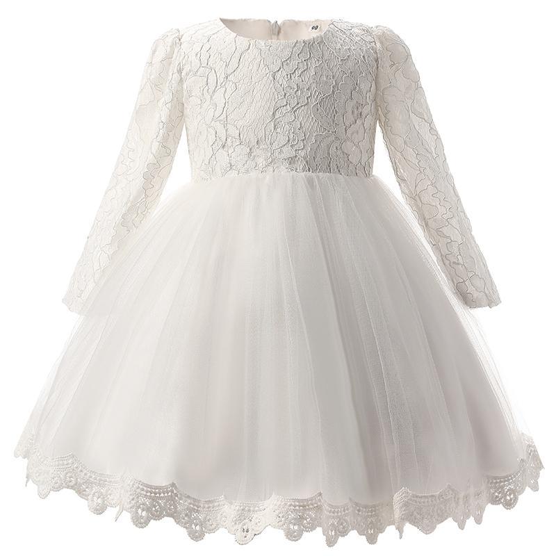 2018 New Winter Kids Girls Dress For Baby Girl Christening Gown 1st Birthday Outfits Children Wedding Dresses Girl Kids Party Wear
