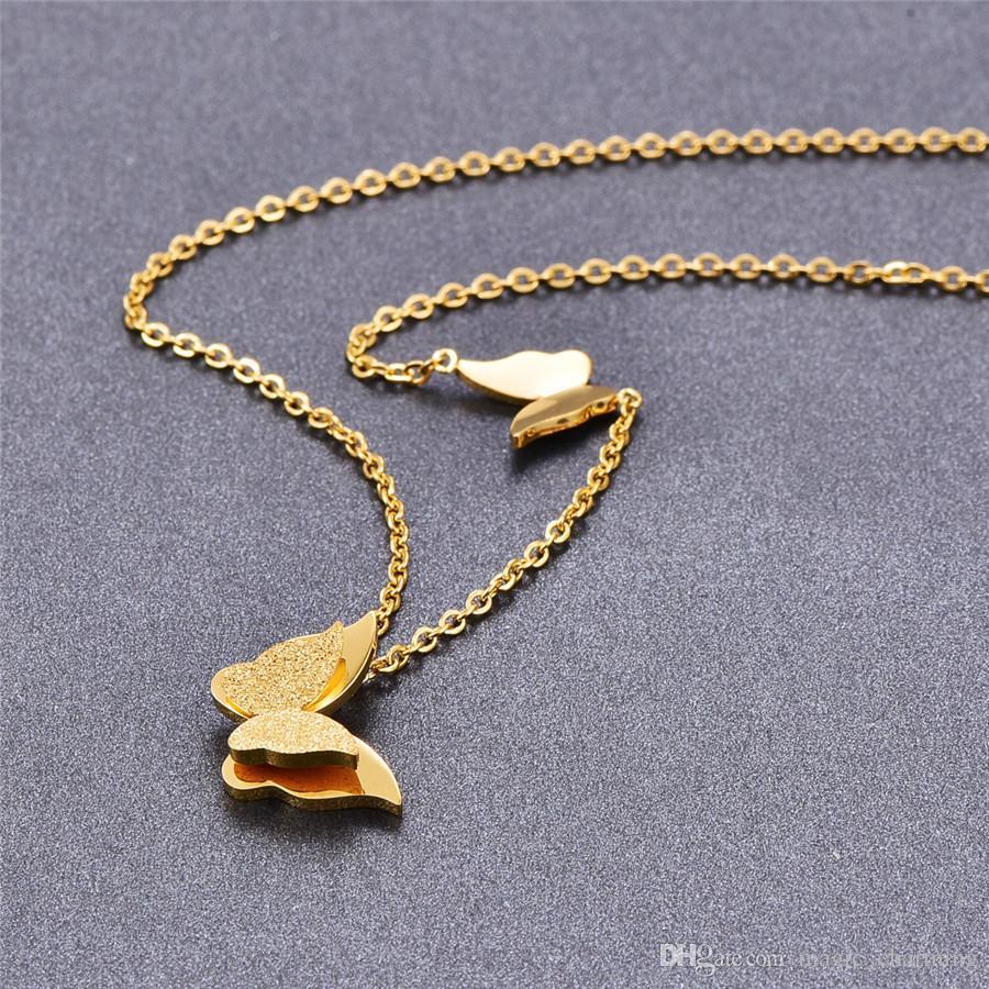 Titanyum Çelik gül altın renk Moda Kadınlar Çift Kelebek Kolye Kolye / Tatil Kolye Kolye Onun Ucuz fiyata