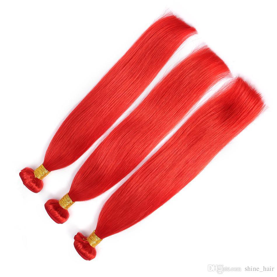 순수 붉은 색 버진 페루 인간의 머리카락 직물 확장 실키 스트레이트 페루 붉은 색 머리카락 3 묶음 우대 베스트 더블 위사