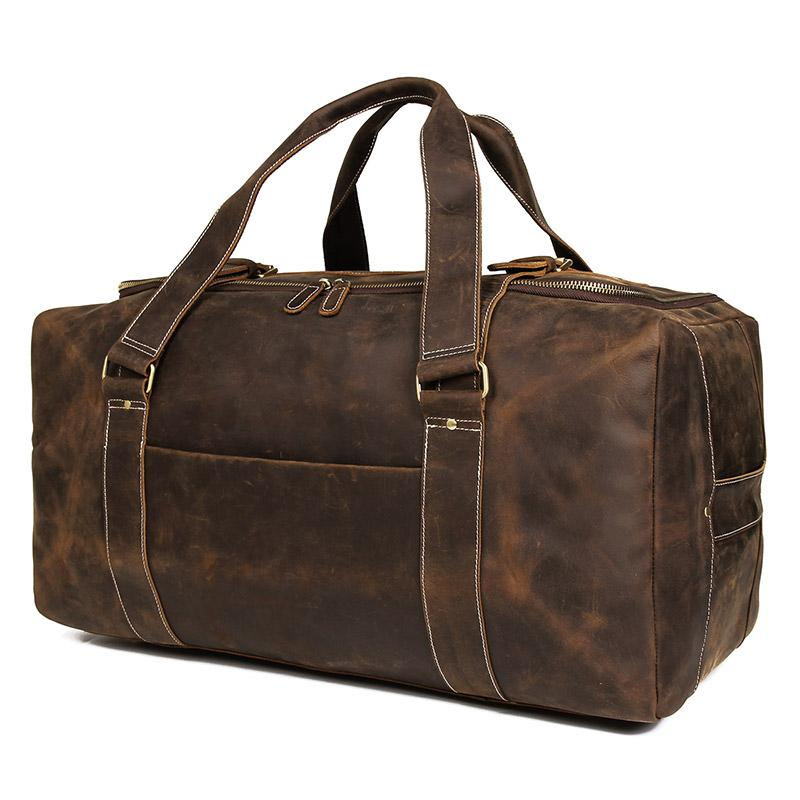 7b51afbff25b J.M.D Crazy Horse Genuine Leather Travel Bag Men Vintage Travel Duffel Bag  Big Cow Leather Carry On Luggage Weekend Large 6008R Briefcases For Men  Travel ...