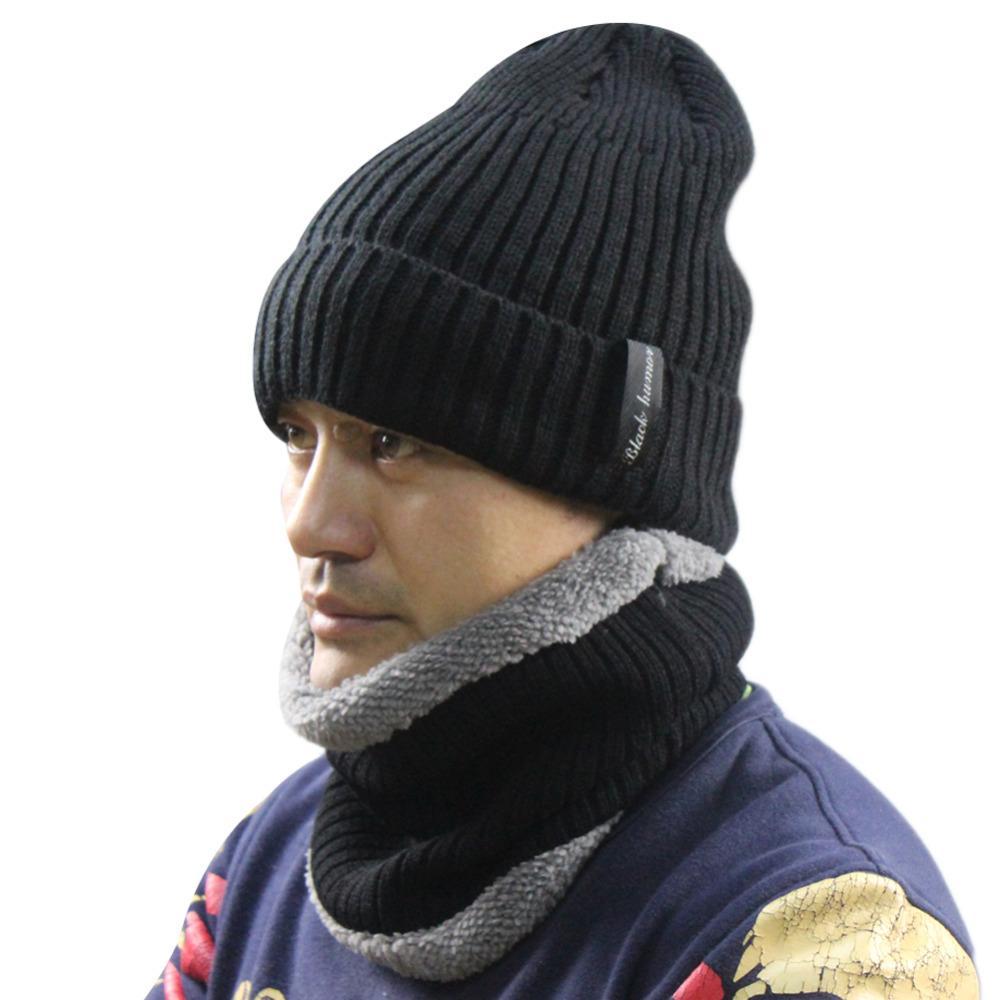 Compre Hombre Invierno Tejer Espesar Fleece Esquiar Ciclismo Pasamontañas  Baggy Beanie Skull Hat Gorras Con Máscara Facial Capucha Cuello Dos Piezas  ... 3c60a945472