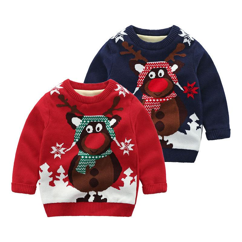3131acf5a514 Christmas Knitted Baby Clothes Boys Sweaters Cartoon Elk Kids ...