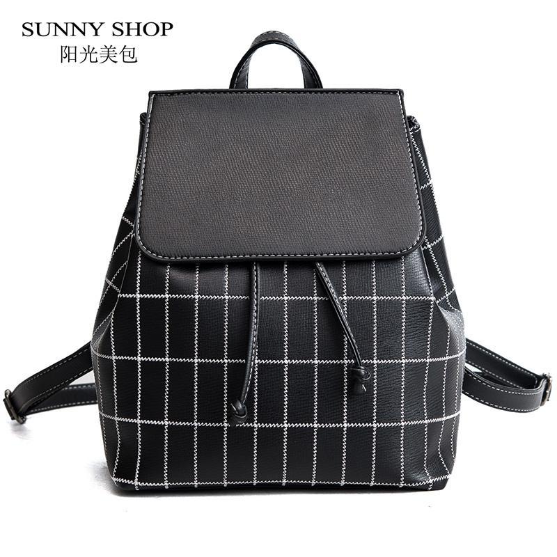 Sunny Shop Check Plaid Drawstring Backpack Women Casual Rucksack