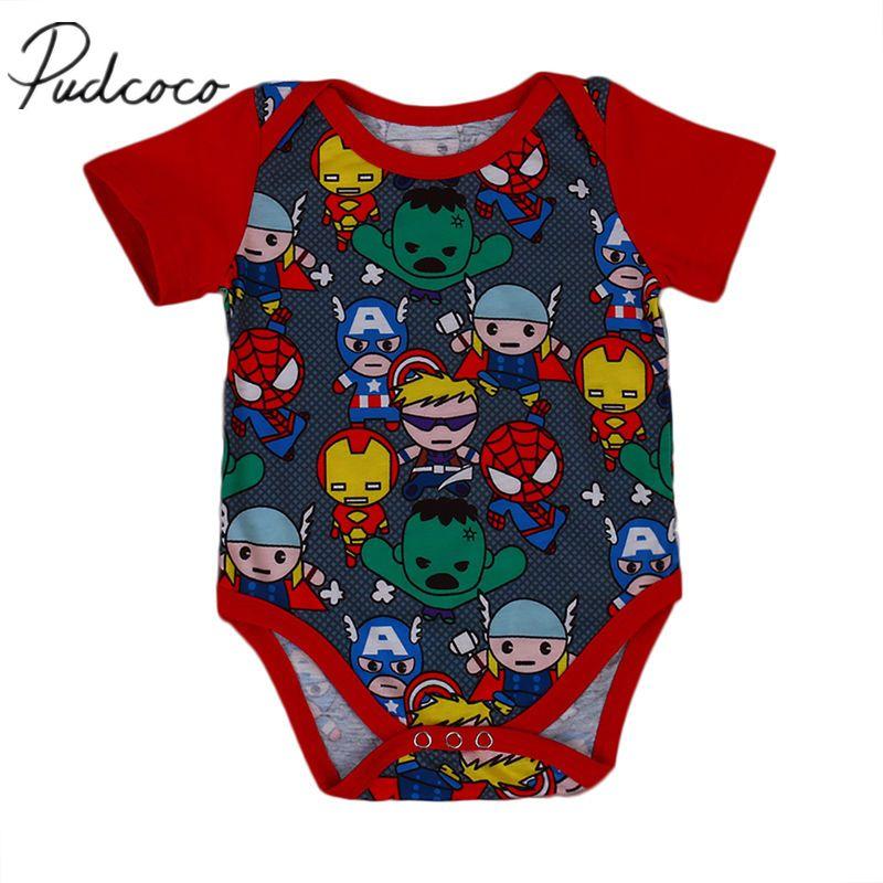 367c0525db25 2019 Pudcoco 2017 Newborn Baby Boy Summer Bodysuit Jumpsuit Cartoon ...
