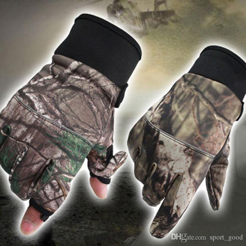 New One Pair Camouflage Winter Durable Fishing Gloves 2 Cut Finger Gloves Silicone Anti Slip Waterproof Outdoor Hiking Cycling Sports Gloves