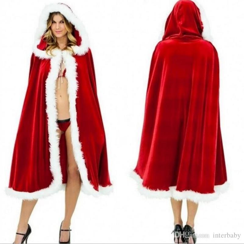 Cosplay Costume Christmas Cloak Cape Xmas Kids Adult Dancing Party Red  Cloak Boutique Robe Cloak Fur Collar Red Hooded Cape YL734