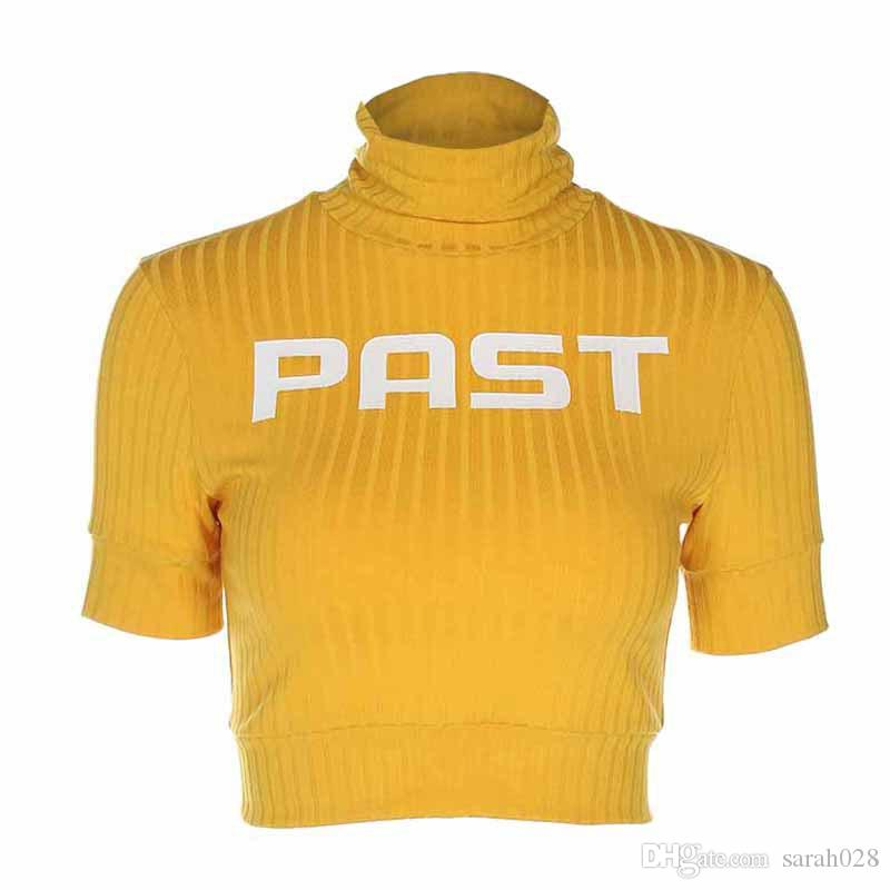 93bd6ae939756 Women Fashion Cropped Turtleneck T Shirt Yellow Spring Short Sleeve Letter  Print T Shirt Slim Waist Vogue Crop Top Shirt Custom T Shirts T Shirt  Printing ...