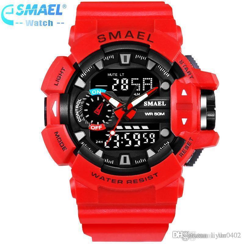 77f476ad4 Compre Smael Marca De Luxo Homens Esportes Relógios Relógio S Choque  Relógios De Pulso 50 M Resistente À Água Relogio Masculino Para Mens Relógio  De Quartzo ...