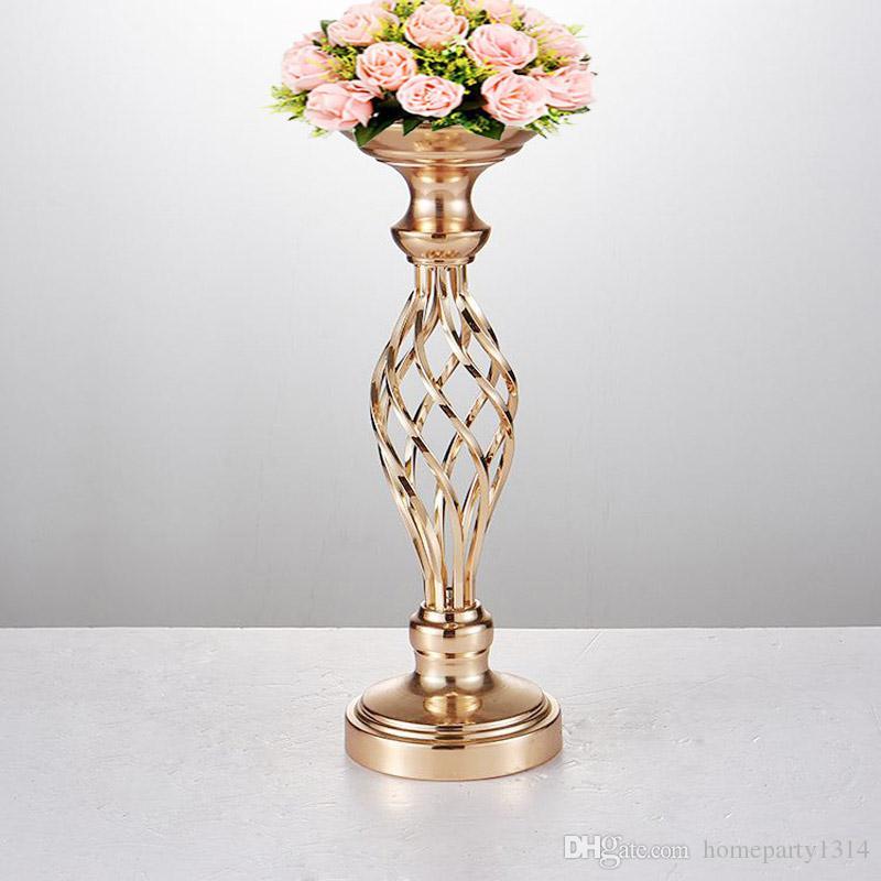 Flores Vasos de exibição suporte de flor Candle Holders Estrada Chumbo Centerpieces mesa de metal ouro pé Pillar Candlestick Para Candelabra casamento