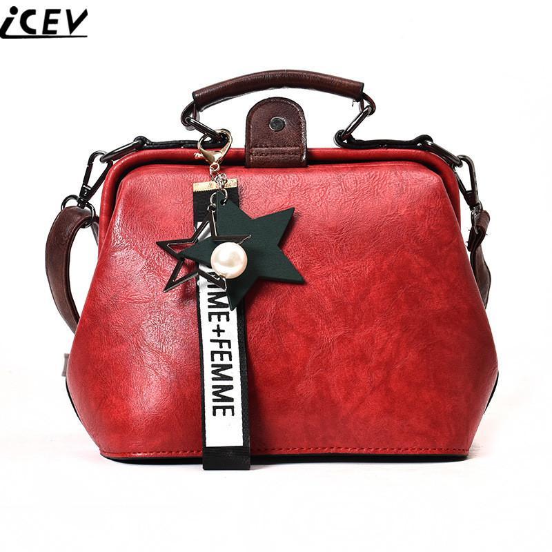 a1a562e51ebb ICEV 2018 New Simple Retro Design Women Leather Handbag Famous Brand Small  Shoulder Messenger Bag Ladies Clutch Crossbody Solid Messenger Bags Laptop  Bags ...