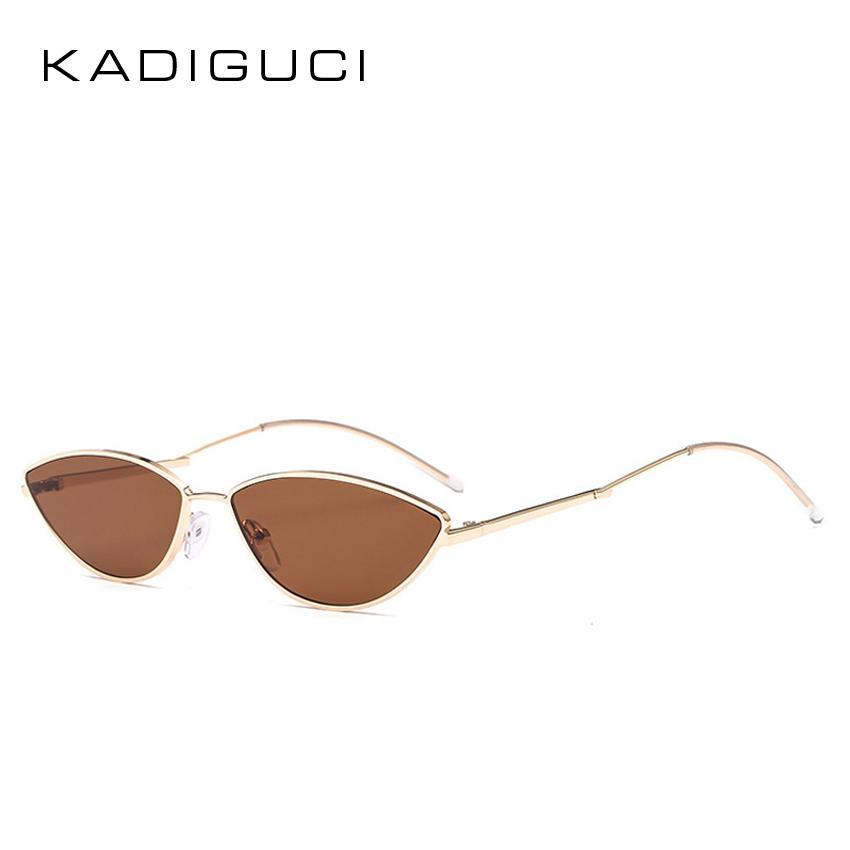 0aedf53436 Compre KADIGUCI Moda Cat Eye Mujeres Gafas De Sol Personalidad Diseño De La  Marca Lujo Mujer Pequeña Señora Gafas 2018 NUEVO Metal UV400 K0234 A $9.8  Del ...