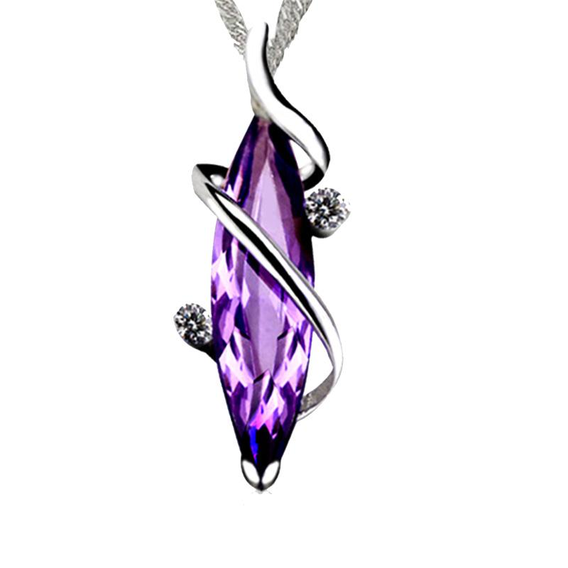 925 Pure Silver Amethyst Necklace Japanese And Korean Clavicle Chain Pendant Lady To Give Girlfriend Birthday Valentines Day Gift Jewelry