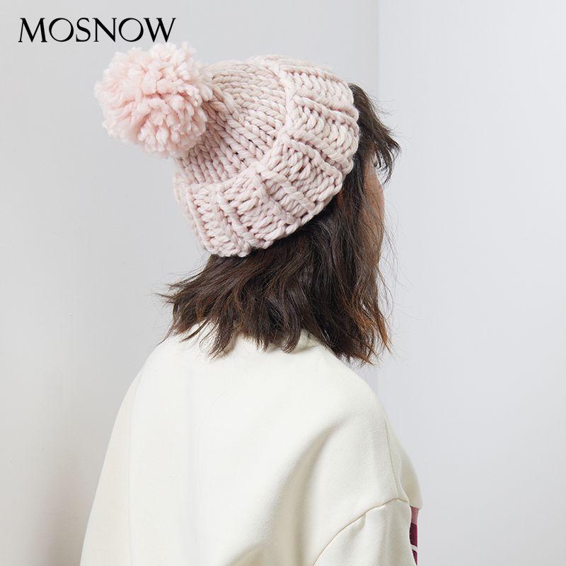 add33ec4f7e25 Autumn Winter Handmade Pompon Beanie Knitting Coarse Wool Hats 2018 New  Brand Bobble Caps Women Skullies Beanies Warm Hat Female D18110102 Ski Hats  Newborn ...