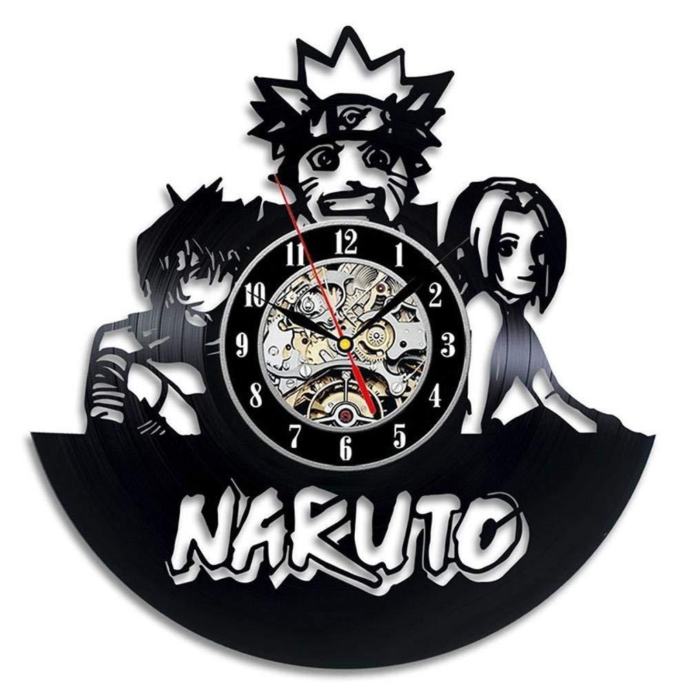 Diy Gift For Clock Vinyl Wall Clock Naruto Vinyl Material Black Glue