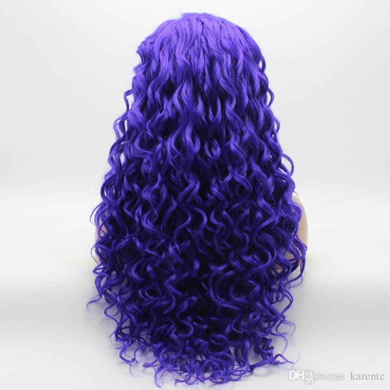 Iwona Hair Curly Long Light Purple Wig 18#3700L Half Hand Tied Heat Resistant Synthetic Lace Front Wig