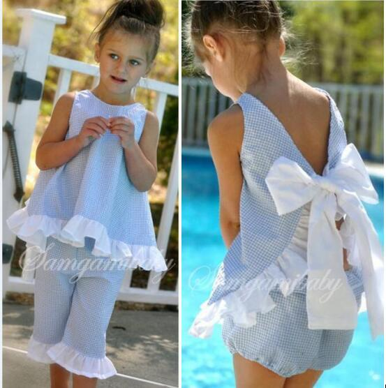 10a45a5d3f Children Boutique Summer Clothing Set Pure Color Lace Edge Butterfly Knot  Split Back Tops + Pants Suit For Baby Girls Sale Online with $14.11/Set on  ...