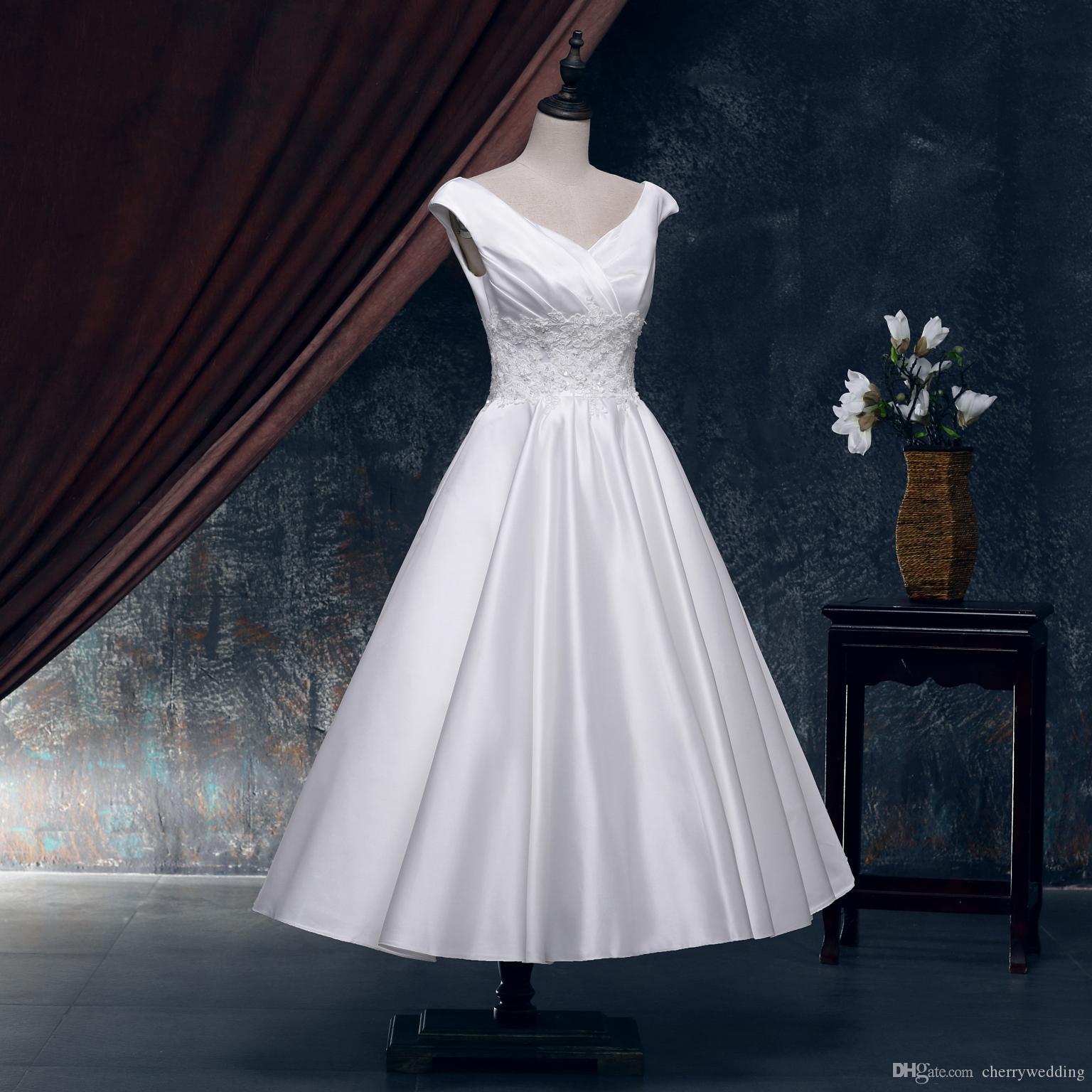 Abiti da sposa in raso di lunghezza tè da cerimonia Abito da sposa vintage con gonna a palloncino Gonna anni '50 XWJ006