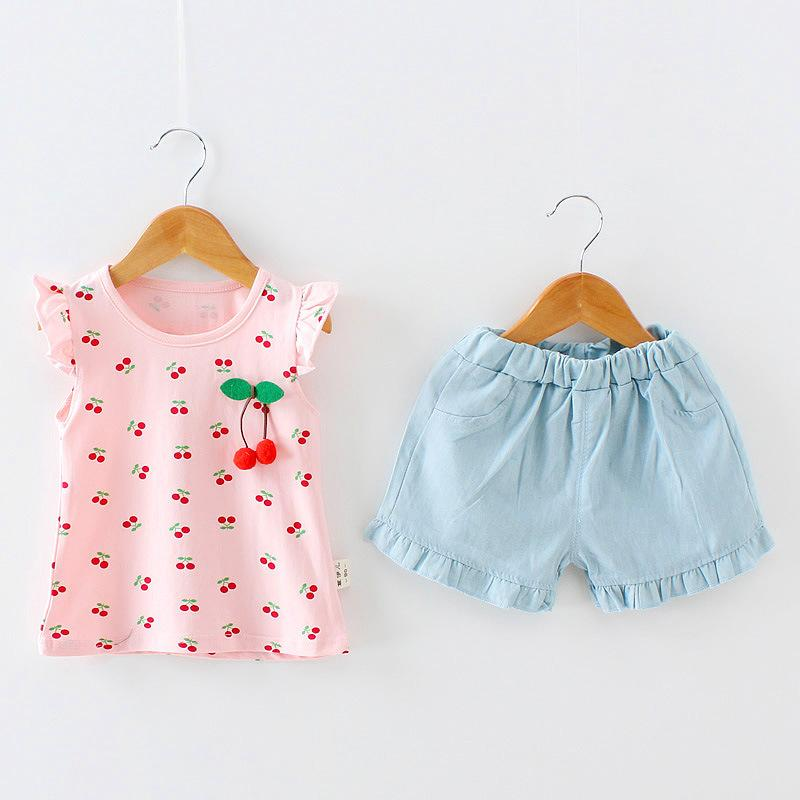 737792fba910 Summer Girls Clothing Sets Little Girls Top+Shorts Clothes Suit ...