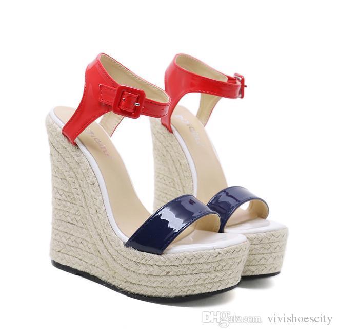 b7dd28274 Compre 15 Cm. Zapatos De Mujer De Lujo Color Block Rojo Azul Tacón Alto  Plataforma Cuñas Sandalias 2018 Tamaño 35 A 40 A  32.69 Del Vivishoescity