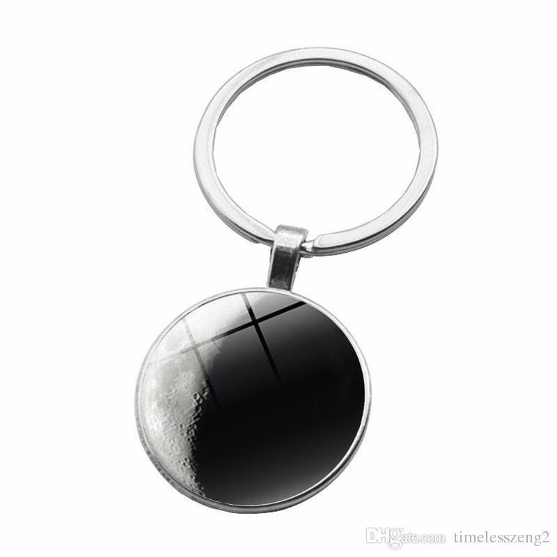 Estrella patrón Tiempo Gem Cabochon llavero Serie de color blanco y negro diseño del planeta llavero individual pequeños regalos