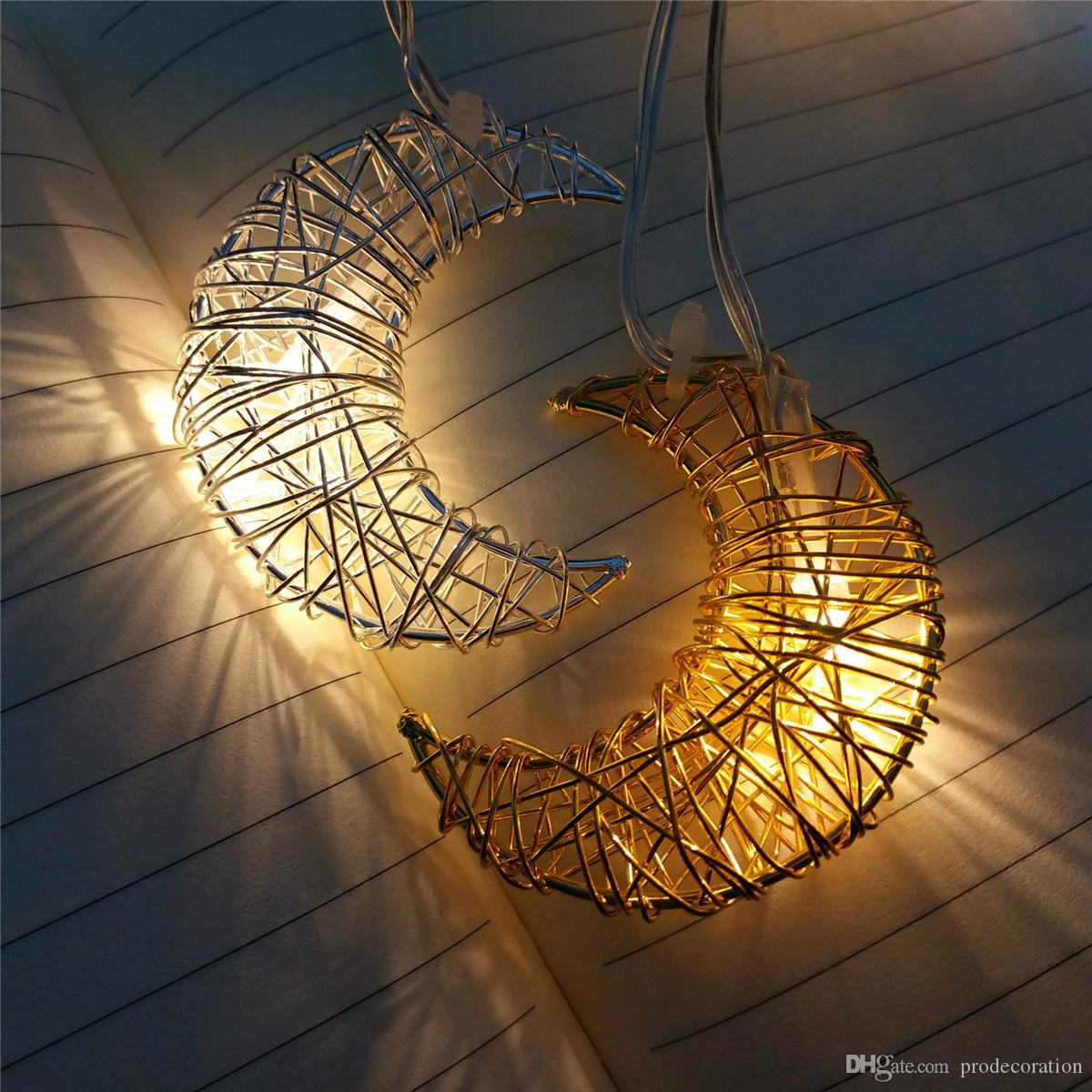 Kids Room Decoration Wire Light String Gold Silver Moon Festival Christmas Birthday Party Girl Room Decoration Pendant Gifts