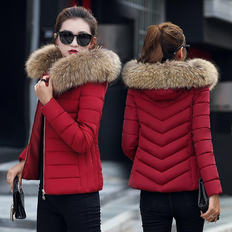 cdc43fcc776 2019 Winter Coat Women Parka Hooded Slim Fur Collar Cotton Padded Jacket  Coats Female Warm Short Parkas Outwear Plus Size 4XL DR01 C18111301 From  Shen8407
