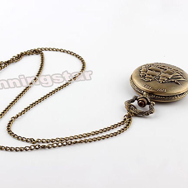 Antique Constitution Sailing Canvas Boat Quartz Pocket Watch Necklace Pendant Bronze Chain Mens Gifts Relogio De Bolso