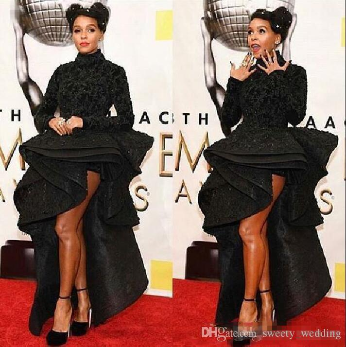 Black Hi_Lo Long Sleeves Evening Dresses Saudi Arabic High Neck Lace Prom Dress Celebrity Women Formal Wear Sequins Cocktail party Gowns