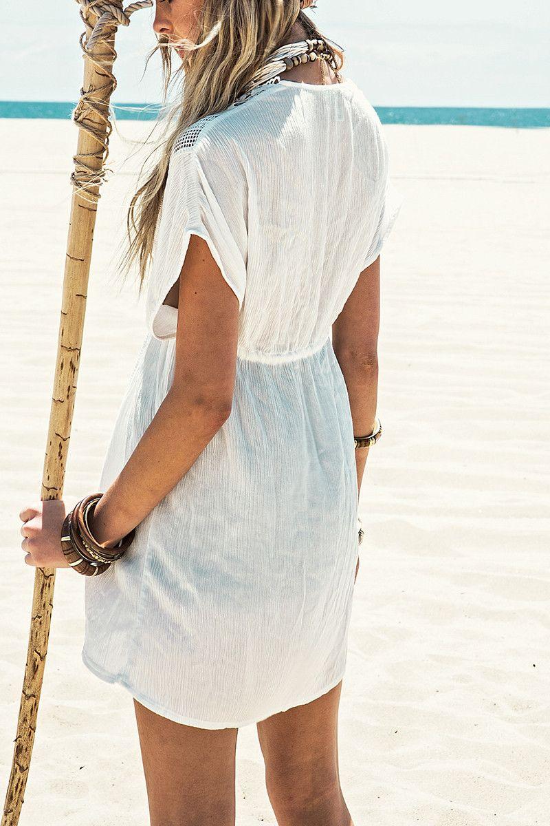 2018 Новый пляжный покрой Белый кружевной купальник прикрытие Летняя вязаная пляжная одежда Купальник прикрывает пляжную тунику