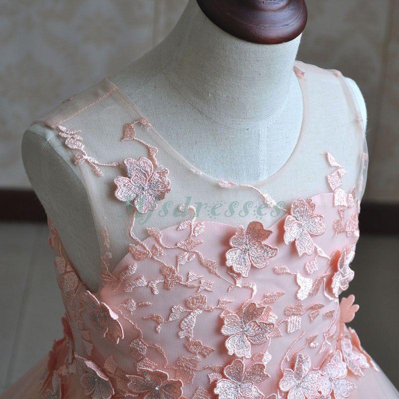 Princesa Coral Pink Flower Girl Vestidos Hasta la rodilla Muchachas Vestido del desfile Niños Vestido formal de boda
