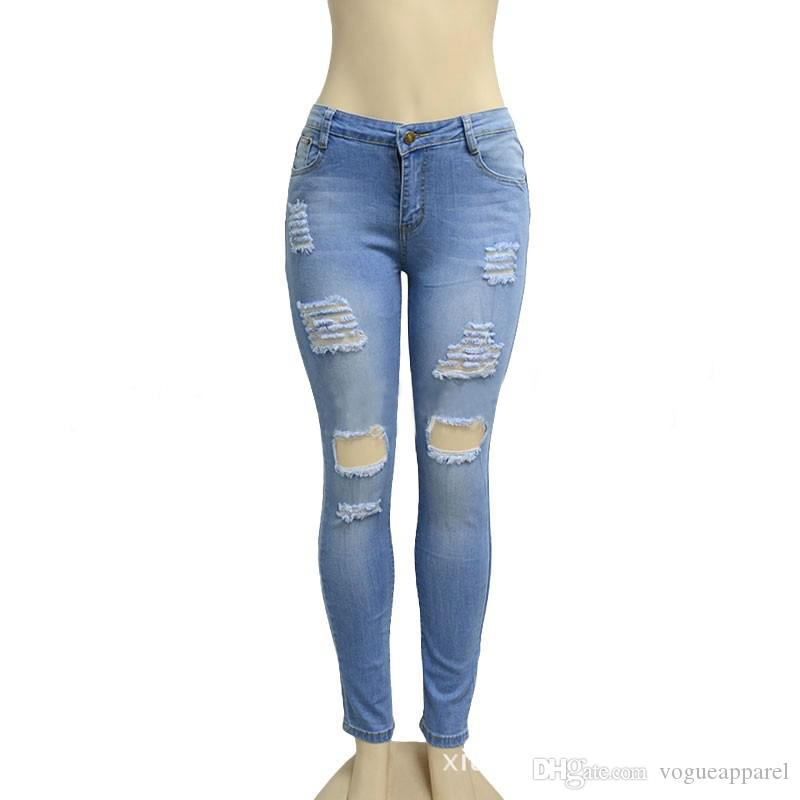 Boyfriend Hole Ripped Jeans Denim Vintage Straight Jeans For Girl High Waist Casual Pants Female Slim Jeans