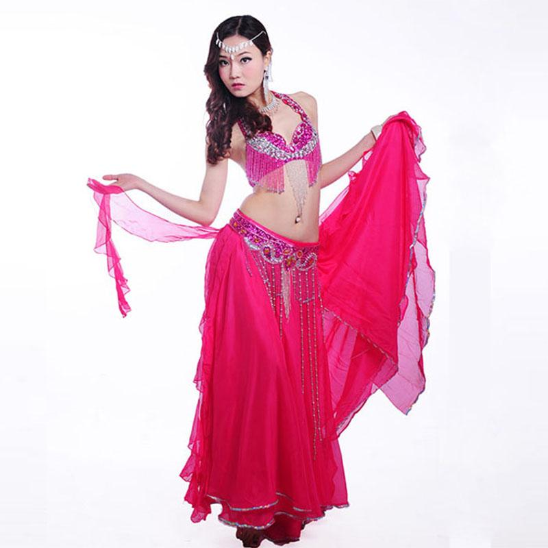 0e318a8c38 2019 Sexy Rose Belly Dance Costume Set Bra+Belt For Women Oriental Eastern Performance  Costumes Sari Indian Clothing From Harrietai