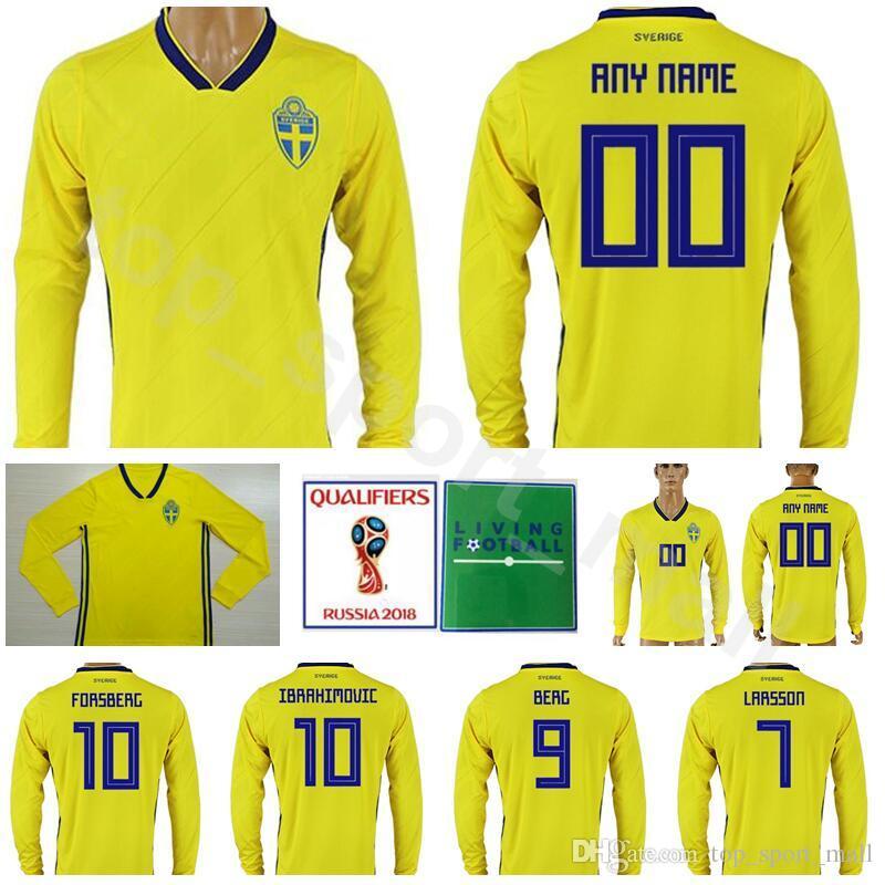 b6a605228 Sweden Long Sleeve Jersey Men 2018 World Cup 10 IBRAHIMOVIC Football ...