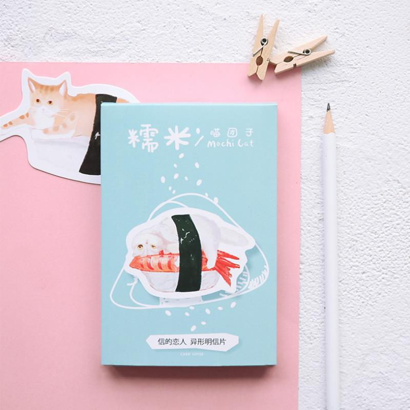 30 Pcs Lot Japanese Style Novelty Heteromorphism Sushi Cat Postcard Greeting Card Christmas Birthday Gift Cards