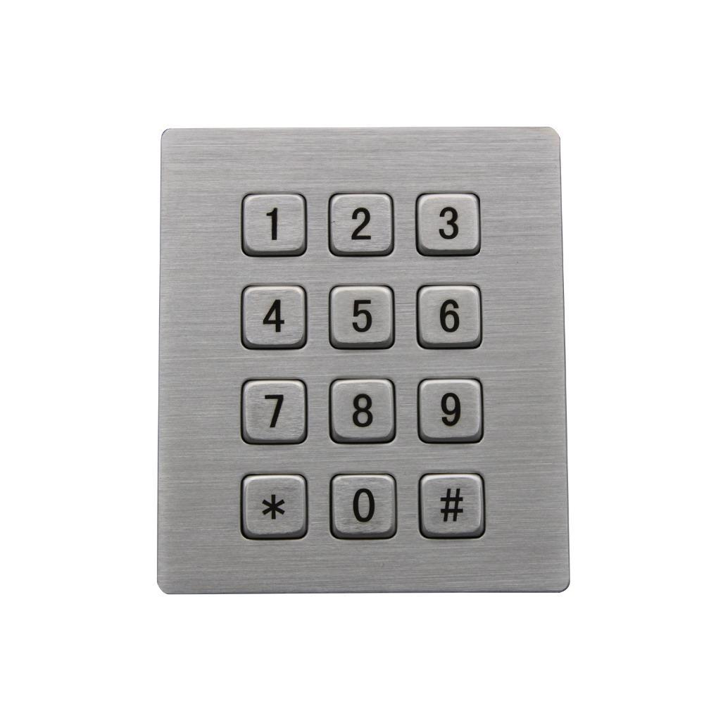 Industrial Keyboard with 12 Keys IP65 3x4 Kiosk Metal USB Keypad Stainless  Steel Metallic Waterproof Slim