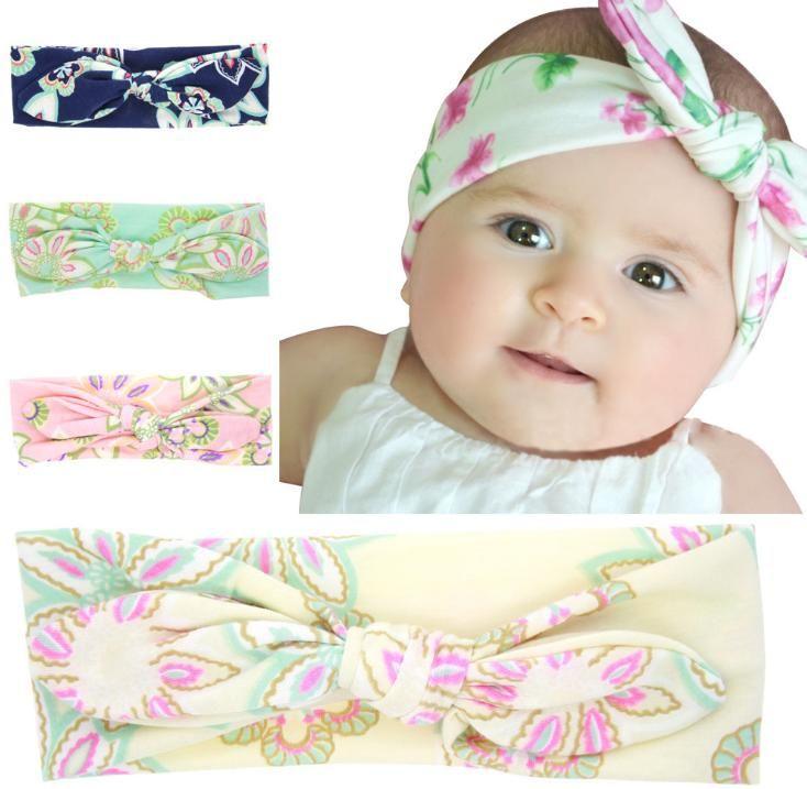 Kids Baby Girls Bow Knot Headband Rabbit Hair Band Floral Head Wraps Hairband