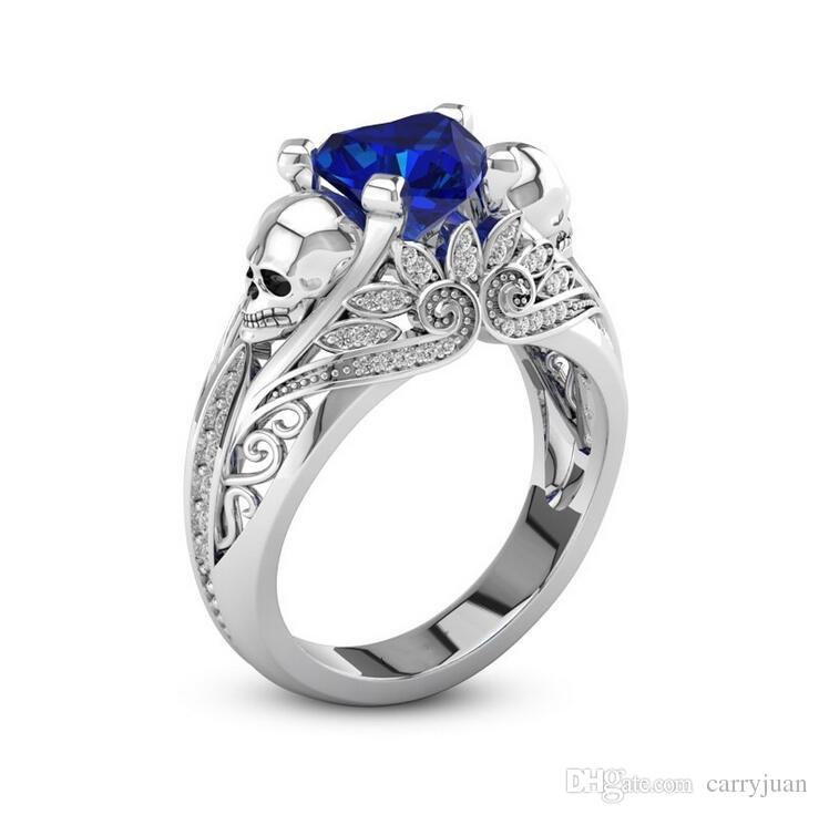 New Arrival Stunning Original Punk Luxury Jewelry 925 Sterling Silver Filled Pear Cut Blue Sapphire Party Women Wedding Skull Band Ring Gift
