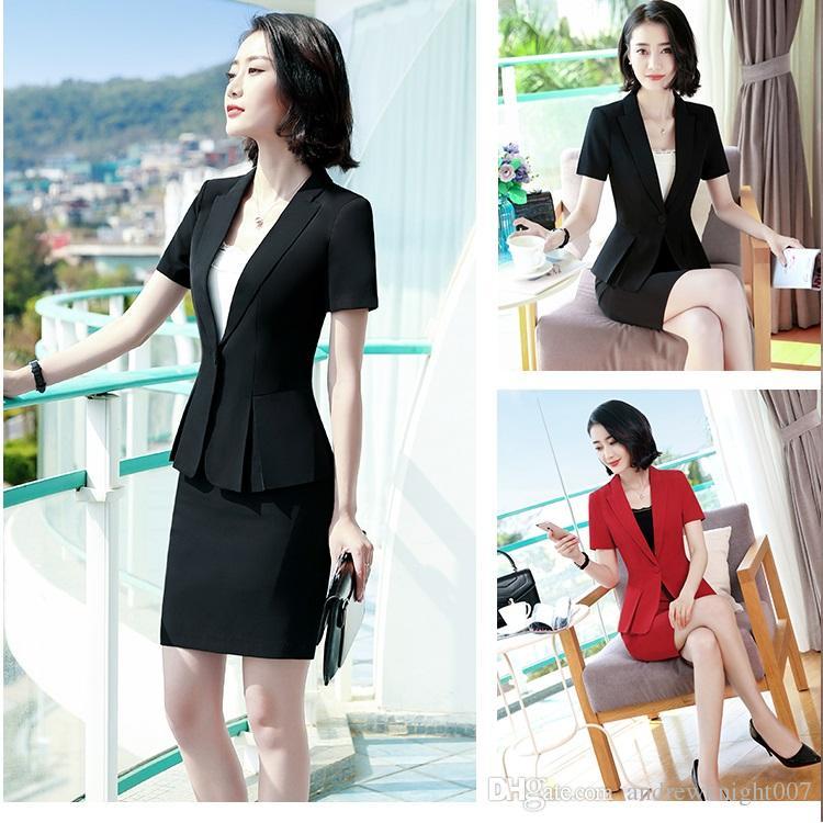 New Women OL Professional One-Button Blazer Jacket Short Sleeve with Skirt Slim Set Black Red 4XL DK836F