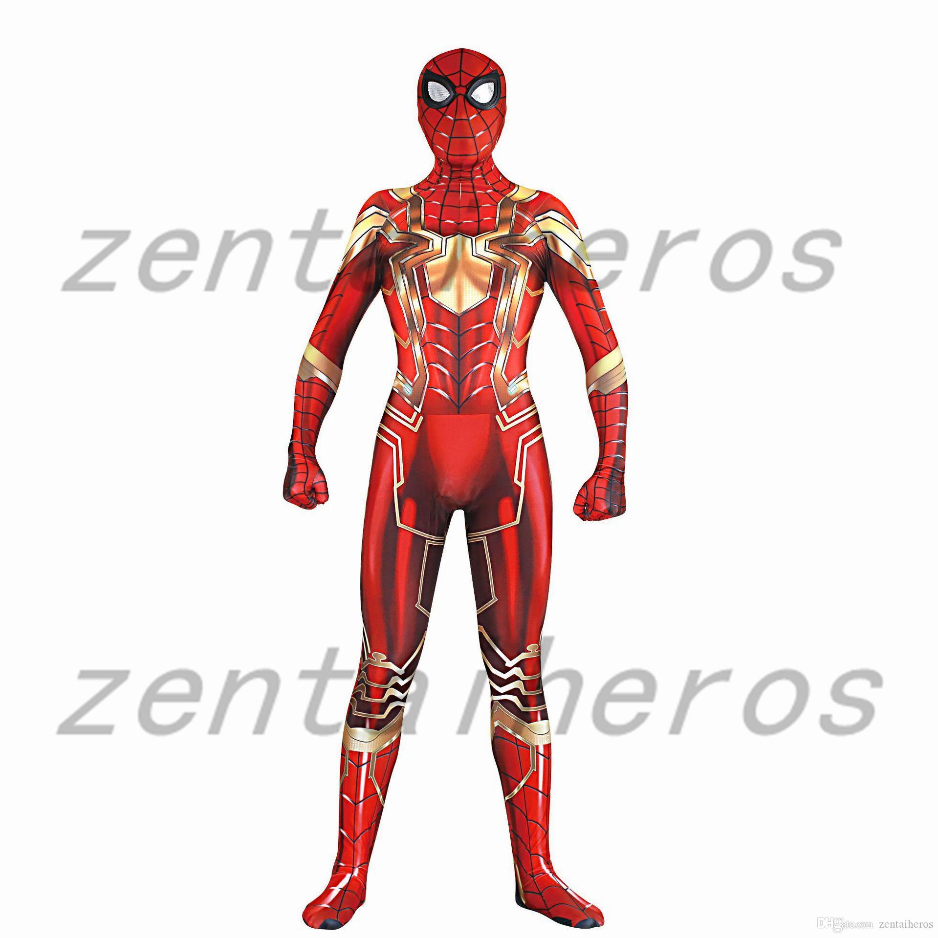 Spider Man Costume Mcu Iron Spider Red & Gold Version Superhero ...