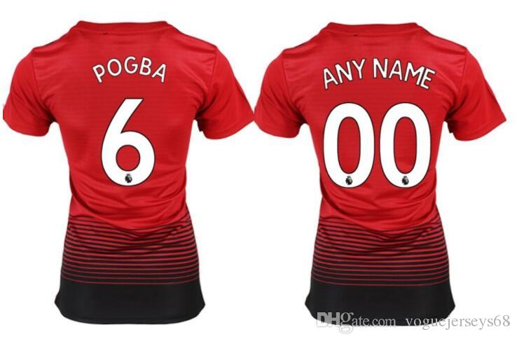 2019 New Womens MU  6 Paul Pogba 7 Alexis Sanchez 9 Lukaku 1 David De Gea  Custom Uniforms Shirts Sports Team Soccer Pro Jerseys Thai Quality Soccer  Uniforms ... 5e233875c