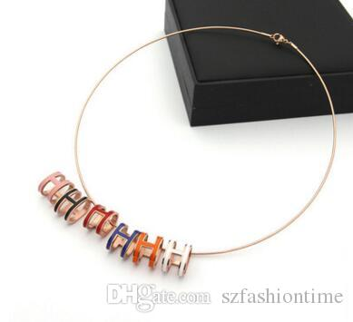 Wholesale titanium steel rose gold jewelry H oval three-dimensional hard ring snake bone chain necklace hard ring men and women H necklace